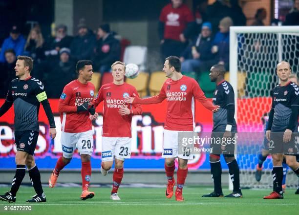 Davit Skhirtladze of Silkeborg IF celebrates after scoring their first goal during the Danish Alka Superliga match between Silkeborg IF and AaB...