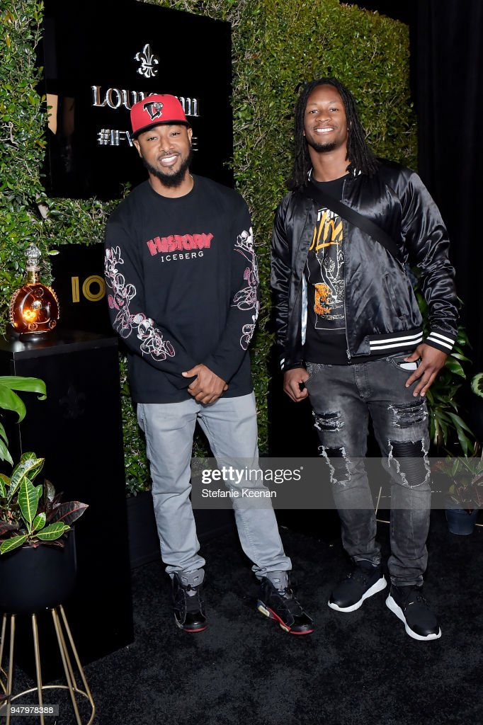 Davon Glover (L) and Todd Gurley attend LOUIS XIII Cognac Presents '100 Years' - The Song We'll Only Hear #IfWeCare - by Pharrell Williams at Goya Studios on April 17, 2018 in Los Angeles, California.