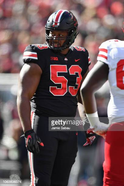 Davon Hamilton of the Ohio State Buckeyes plays defense against the Nebraska Cornhuskers at Ohio Stadium on November 3 2018 in Columbus Ohio