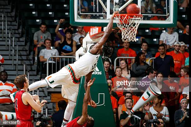Davon Reed of the Miami Hurricanes is fouled as he goes to the basket against the Louisiana-Lafayette Ragin' Cajuns on November 16, 2015 at the...
