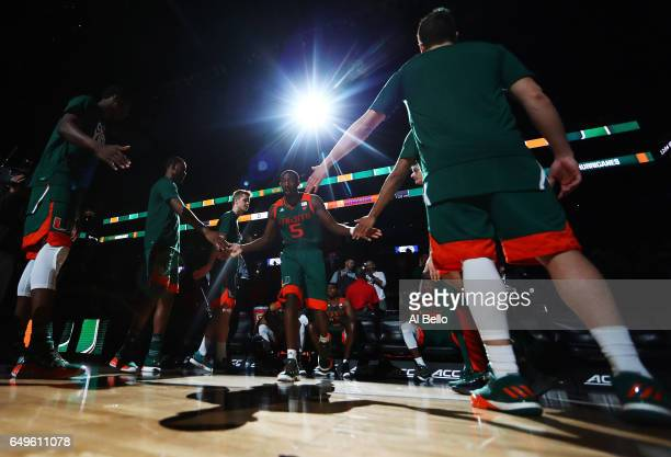 Davon Reed of the Miami Hurricanes is introduced against the Syracuse Orange during the second round of the ACC Basketball Tournament at the Barclays...