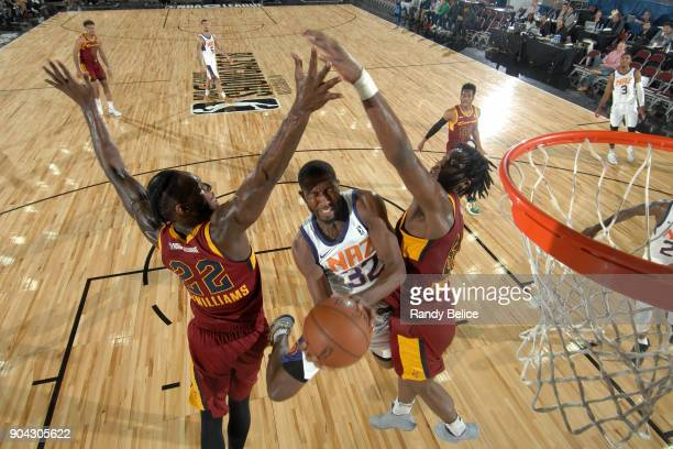 Davon Reed of the Northern Arizona Suns drives to the basket against the Canton Charge during the GLeague Showcase on January 12 2018 at the Hershey...