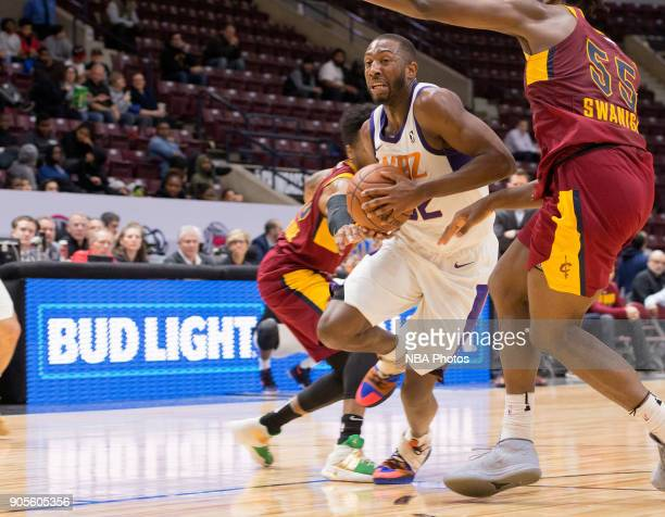 Davon Reed of the Northern Arizona Suns drives to the basket against the Canton Charge during the NBA GLeague Showcase on January 12 2018 at the...