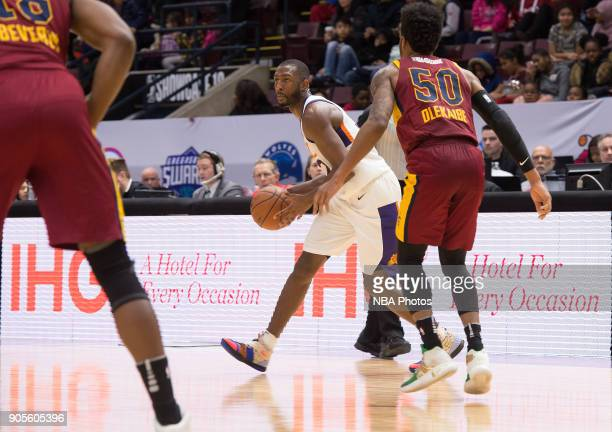 Davon Reed of the Northern Arizona Suns looks to pass the ball against the Canton Charge during the NBA GLeague Showcase on January 12 2018 at the...