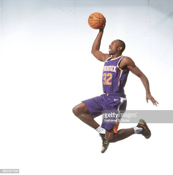 Davon Reed of the Phoenix Suns poses for a photo during the 2017 NBA Rookie Shoot on August 11 2017 at the Madison Square Garden Training Center in...