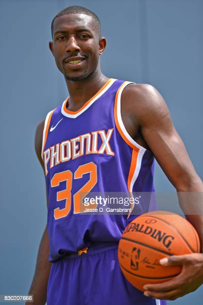 Davon Reed of the Phoenix Suns poses for a portrait during the 2017 NBA rookie photo shoot on August 11 2017 at the Madison Square Garden Training...