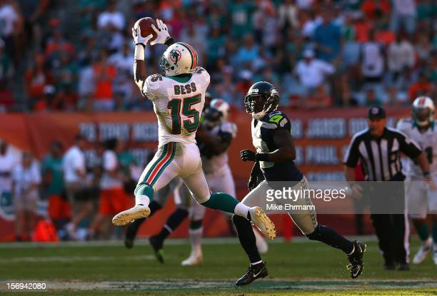 Davone Bess of the Miami Dolphins makes a catch during a game against the Seattle Seahawks at Sun Life Stadium on November 25 2012 in Miami Gardens...