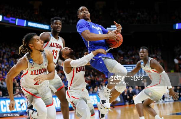 Davonta Jordan of the Buffalo Bulls drives to the basket in the first half against the Arizona Wildcats during the first round of the 2018 NCAA Men's...