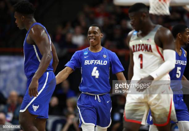 Davonta Jordan of the Buffalo Bulls reacts in the second half against the Arizona Wildcats during the first round of the 2018 NCAA Men's Basketball...