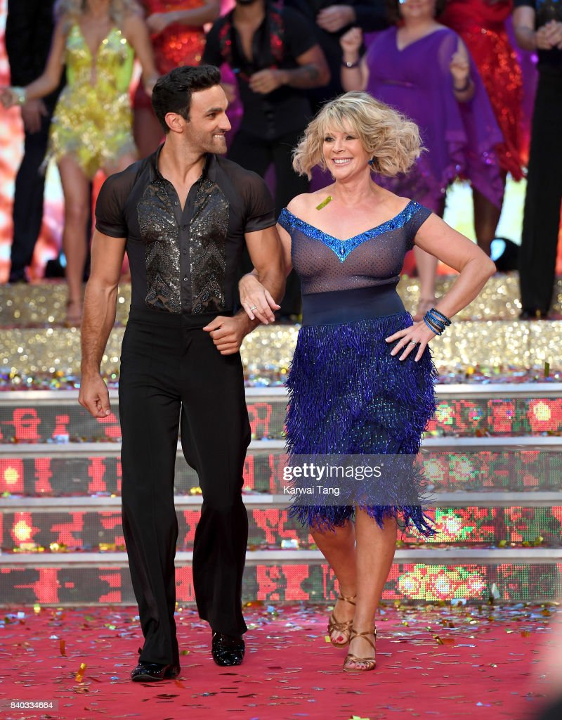 Davood Ghadami and Ruth Langsford attend the 'Strictly Come Dancing 2017' red carpet launch at Broadcasting House on August 28, 2017 in London, England.