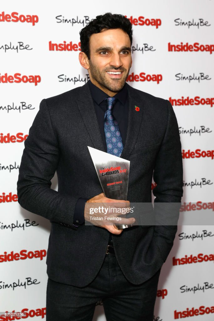 Davood Ghadami, winner of the award for Sexiest Male, attends the Inside Soap Awards held at The Hippodrome on November 6, 2017 in London, England.