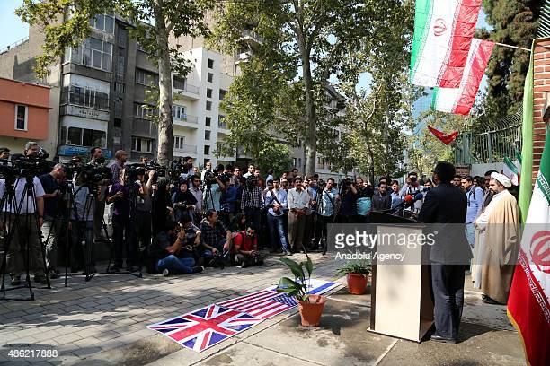 Davood Goodarzi, responsible person for the university students of Basij paramilitary volunteer militia, gives a speech as a group of anti-US group...