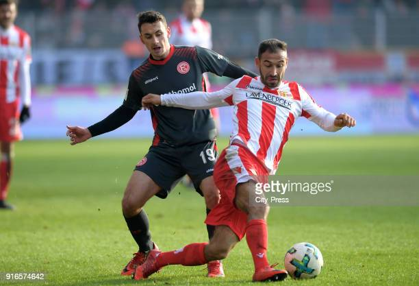 Davor Lovren of Fortuna Duesseldorf and Akaki Gogia of 1 FC Union Berlin during the second Bundesliga game between Union Berlin and Fortuna...