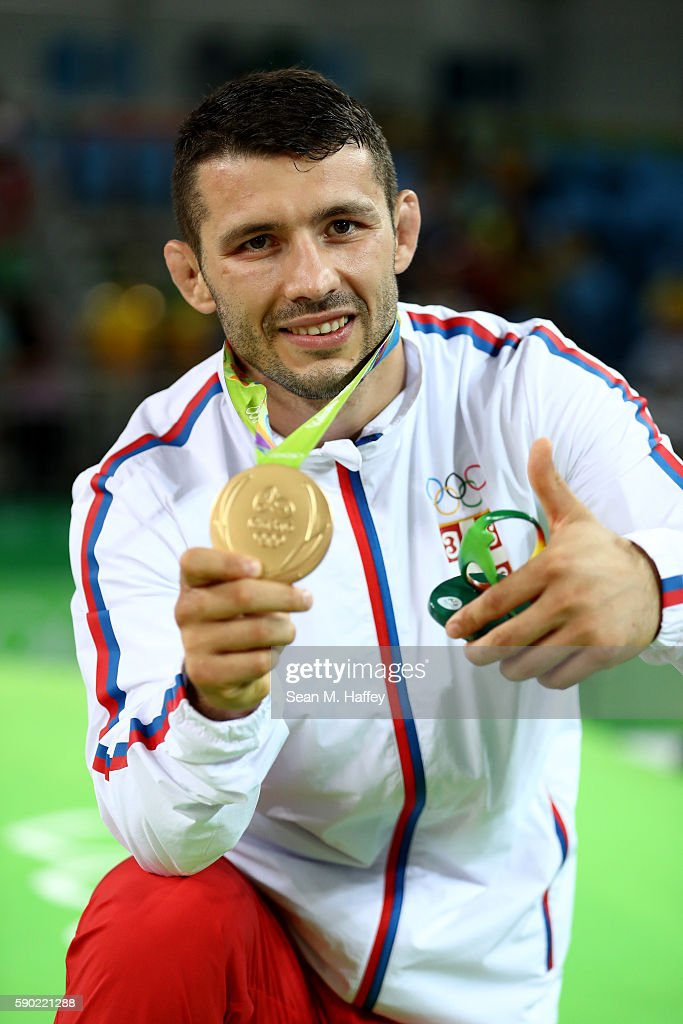 Davor Stefanek of Serbia poses with the gold medal for the Men's Greco-Roman 66 kg final on Day 11 of the Rio 2016 Olympic Games at Carioca Arena 2 on August 16, 2016 in Rio de Janeiro, Brazil.