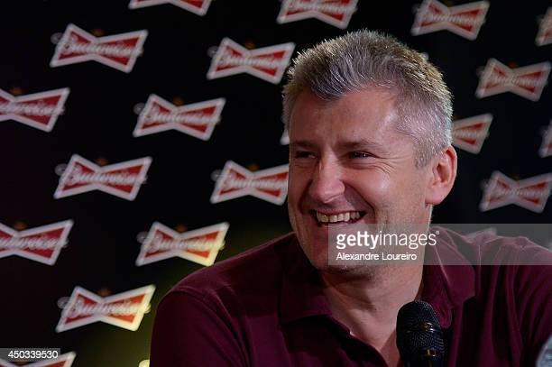 Davor Suker former FIFA World Cup player talks to the media during the press conference presented by Budweiser at Budweiser Hotel by Pestana on June...