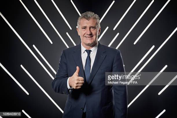 Davor Suker is pictured inside the photo booth prior to The Best FIFA Football Awards at Royal Festival Hall on September 24 2018 in London England