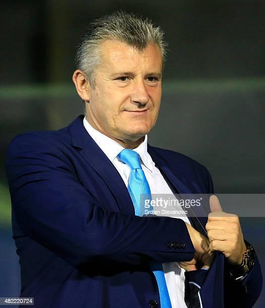 Davor Suker President of Croatia Footbal Federation looks on prior the UEFA Champions League Third Qualifying Round 1st Leg match between FC Dinamo...