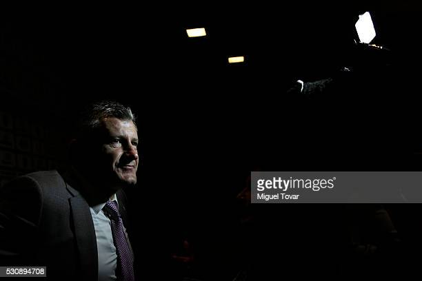 Davor Suker President of the Croatian Soccer Federation talks with mexican journalists during the first day of the Soccerex Americas Forum at Camino...