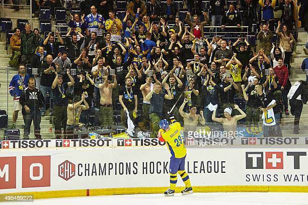 Davos fans celebrate after the Champions Hockey League round of eight game between Bili Tygri Liberec and HC Davos at Home Credit Arena on November 3...