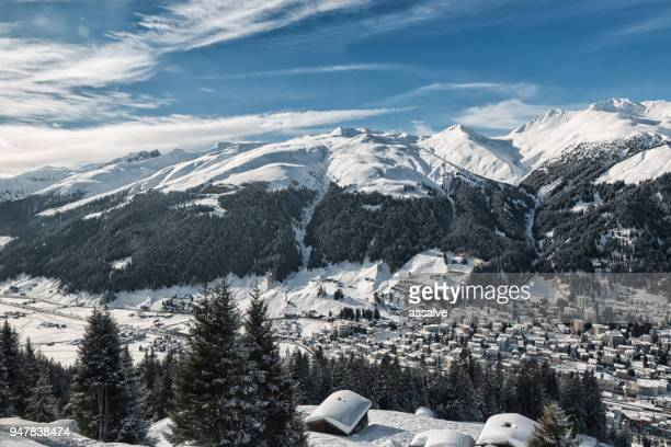 davos in winter - davos stock pictures, royalty-free photos & images