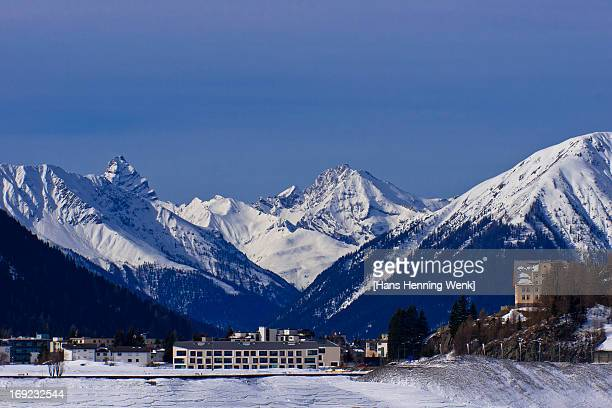 davos mountain panorama - davos stock pictures, royalty-free photos & images