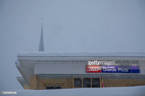 Davos Platz or Rhaetian Railway station covered by snow in Winter on January 02 2019 in Davos Switzerland Davos is a popular ski resort with a...