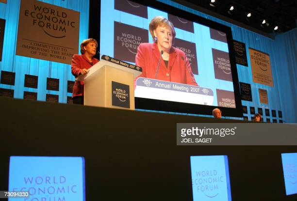 German Chancellor Angela Merkel addresses the opening session of the Annual meeting of the World Economic Forum 24 January 2007 in Davos World...
