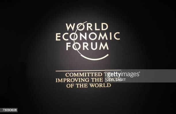 Logo of the World Economic Forum taken at the Congress Centre 24 January 2007 The annual meeting of the World Economic Forum in the Swiss mountain...