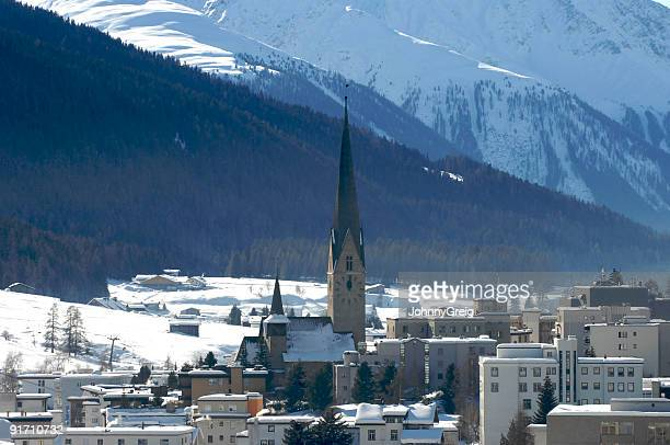 davos town view - davos stock pictures, royalty-free photos & images