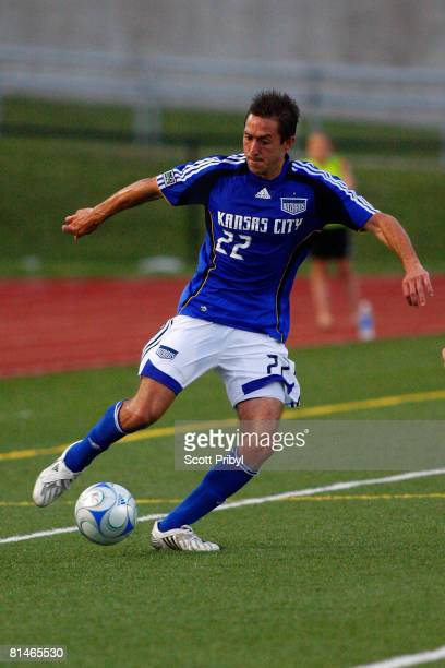 Davy Arnaud of the Kansas City Wizards dribbles against the Colorado Rapids during the game at Shawnee Mission North High School on June 4 2008 in...