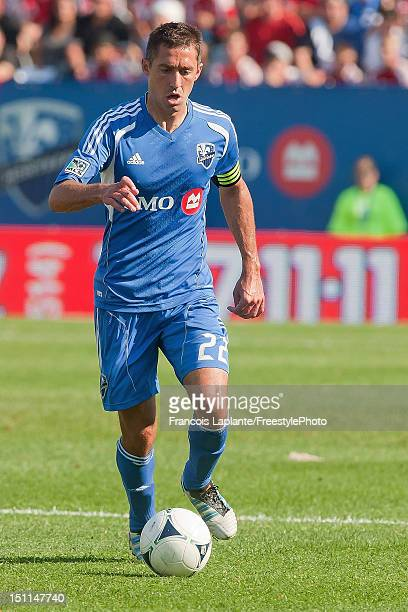 Davy Arnaud of the Montreal Impact controls the ball against the DC United during the MLS match at Saputo Stadium on August 25 2012 in Montreal...
