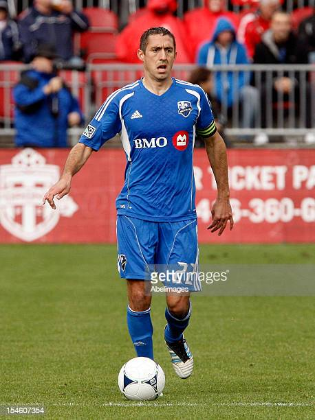 Davy Arnaud of the Montreal Impact moves the ball against the Toronto FC during MLS action at BMO Field October 20 2012 in Toronto Ontario Canada
