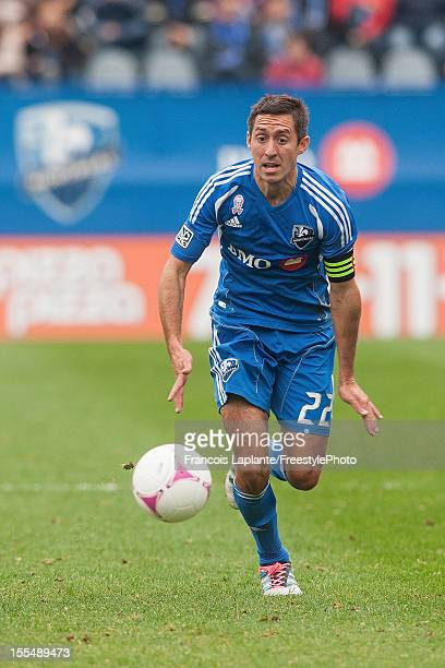 Davy Arnaud of the Montreal Impact runs for a loos ball during the MLS match against the New England Revolution at Saputo Stadium on October 27 2012...