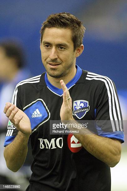 Davy Arnaud of the Montreal Impact warms up during the warm up period prior to facing the New York Red Bulls in their MLS match at the Olympic...