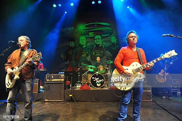 Davy Carton Eimhin Craddock Leo Moran and Anthony Thistlewaite of The Saw Doctors perform on stage at Shepherds Bush Empire on December 18 2010 in...
