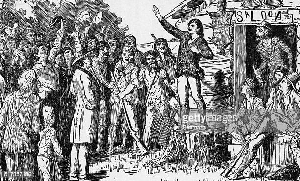 Davy Crockett campaigns for U S House of Representatives in the Tennessee frontier Undated woodcut