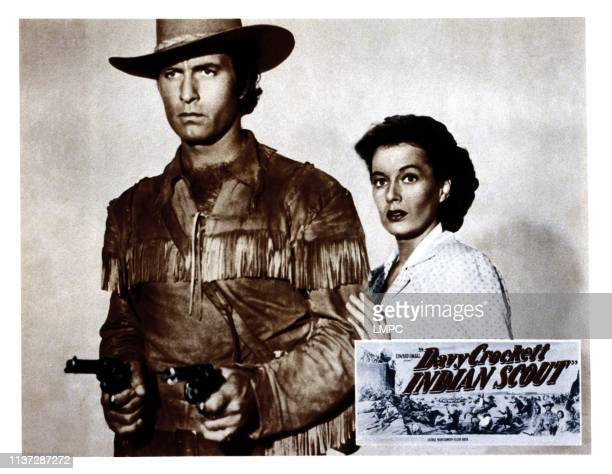 Davy Crockett lobbycard INDIAN SCOUT from left George Montgomery Ellen Drew 1950