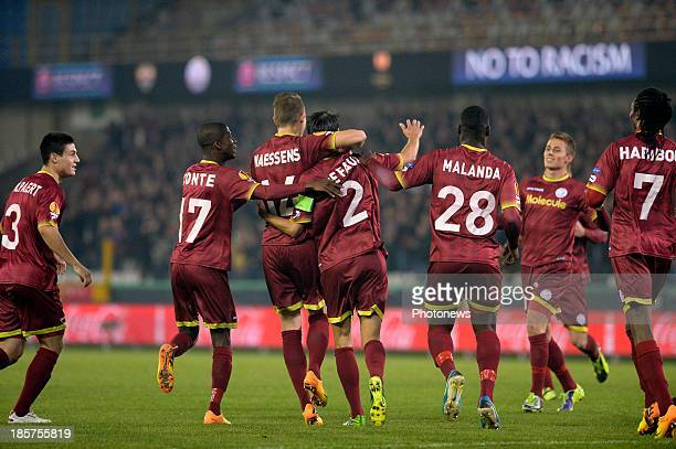 Davy De Fauw of ZulteWaregem celebrates with teammates after scoring during the UEFA Europa League group D matchday 3 match between SV Zulte Waregem...