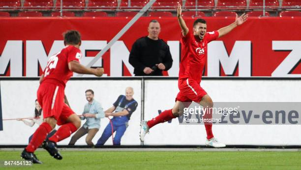 Davy Frick of Zwickau celebrates the opening goal during the 3.Liga match between FSV Zwickau and 1.FC Magdeburg at Stadion Zwickau on September 15,...