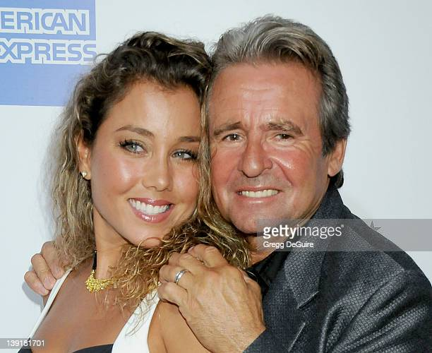 Davy Jones and wife Jessica Pacheco attend the Macy's Passport 2009 Fashion Show at Barker Hangar on September 24 2009 in Santa Monica California
