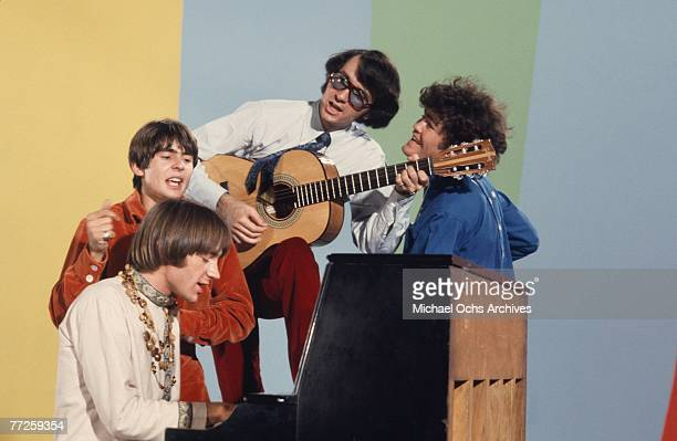 Davy Jones Mickey Dolenz Peter Tork and Mike Nesmith on the set of the television show The Monkees in August 1967 in Los Angeles California