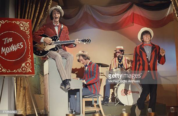 Davy Jones Mickey Dolenz Peter Tork and Mike Nesmith on the set of the television show The Monkees in June 1967 in Los Angeles California
