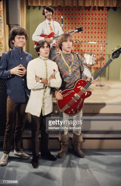 Davy Jones Mickey Dolenz Peter Tork and Mike Nesmith on the set of the television show The Monkees in November 1967 in Los Angeles California