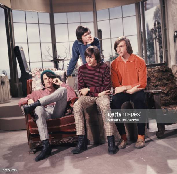 Davy Jones Mickey Dolenz Peter Tork and Mike Nesmith on the set of the television show The Monkees circa 1967 in Los Angeles California