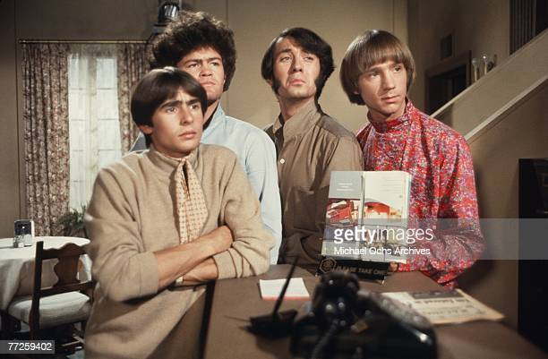 Davy Jones Mickey Dolenz Peter Tork and Mike Nesmith on the set of the television show The Monkees in October 1967 in Los Angeles California