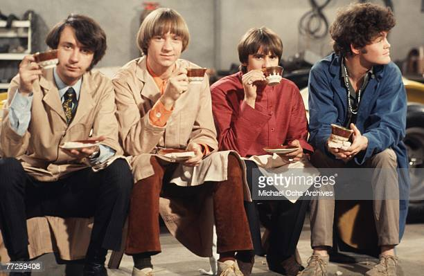 Davy Jones Mickey Dolenz Peter Tork and Mike Nesmith on the set of the television show The Monkees in December 1967 in Los Angeles California