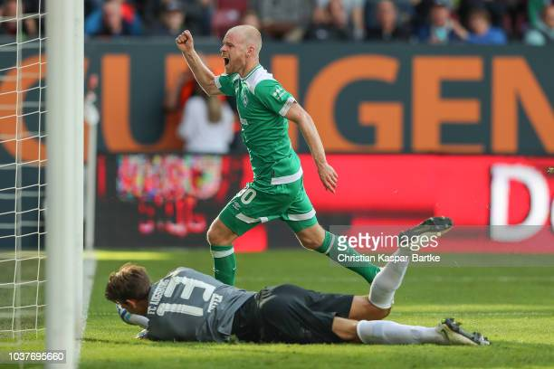 Davy Klaasen of Bremen celebrates the third goal for Bremen during the Bundesliga match between FC Augsburg and SV Werder Bremen at WWKArena on...