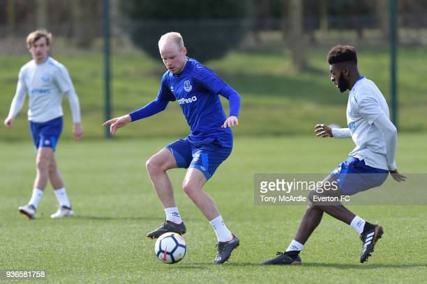 Davy Klaassen and Beni Baningime during the Everton FC training session at USM Finch Farm on March 21 2018 in Halewood England