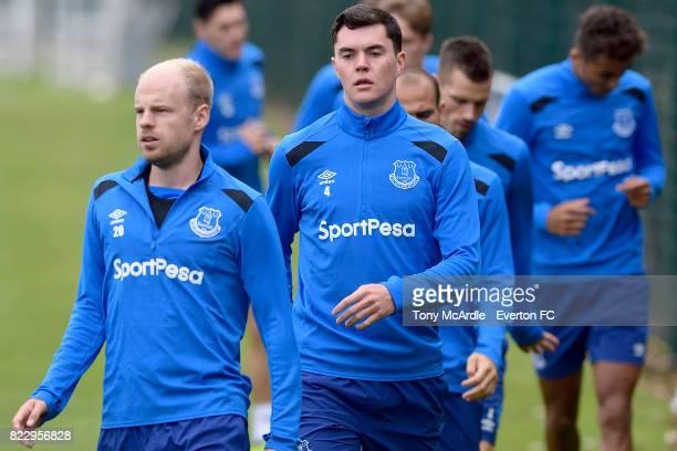 Davy Klaassen and Michael Keane during the Everton FC training session at USM Finch Farm on July 25 2017 in Halewood England
