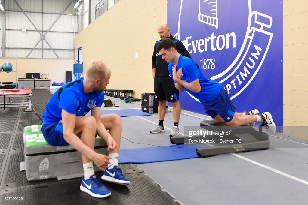 Davy Klaassen (L) and Michael Keane (R) of Everton during a pres season traiing session at USM Finch Farm on July 4, 2017 in Halewood, England.